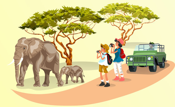 Cartoon tourists taking pictures of family of elephants walking in the zoo