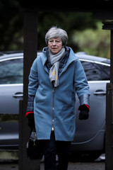 Britain's Prime Minister Theresa May arrives at a church, near High Wycombe