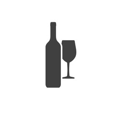 Wine bottle and wineglass of gray color isolated on white background. Vector icon.