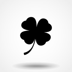 Four leaf clover icon. Black icon isolated on white background. Clover silhouette. Simple icon. Web site page and mobile app design vector element.