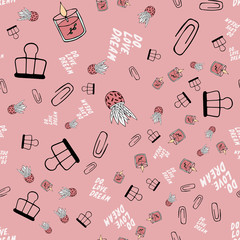 Hygge seamless pattern. Cute illustration of spring and planner hygge elements on pink vector background. Scandinavian trendy style. Nordic background