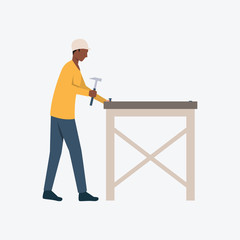 Carpenter driving nails flat icon. Woodwork