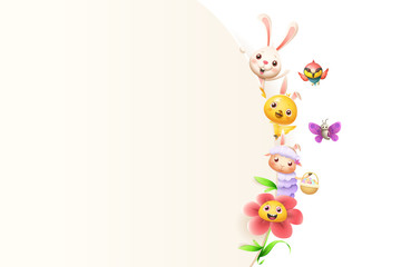 Easter friends animals and flower on right side of board - isolated on white background