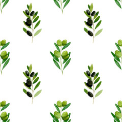 Watercolor seamless pattern Black and greenolive on white