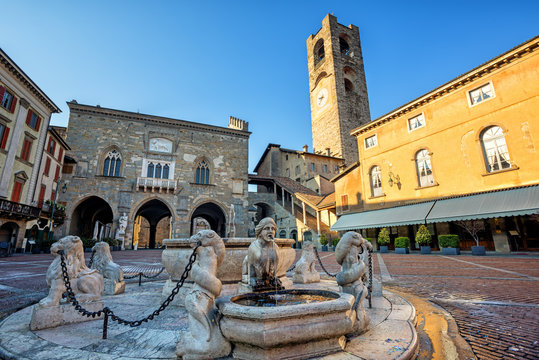 Piazza Vecchia in Bergamo Old town, Italy