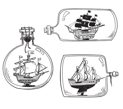 Souvenir from the sea - ship in a bottle. Set of vector drawings.