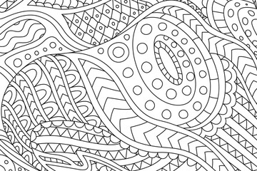Beautiful coloring book page with linear pattern