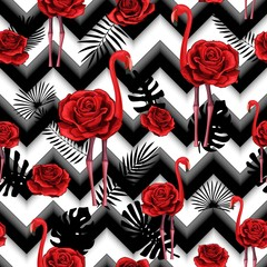 Trendy zigzag lines print embroidered red roses and flamingo seamless pattern