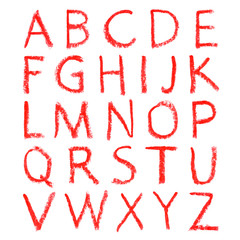 Hand-drawn red lipstick alphabet. Calligraphy font. Modern brushpen lettering. Grunge style alphabet.
