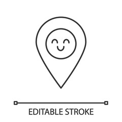 Smiling map pin character linear icon