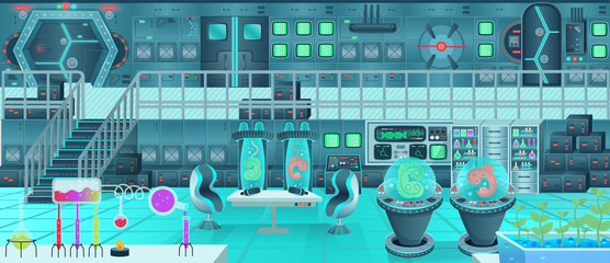 Background for games and mobile applications spaceship. Spaceship interior, laboratory. Cartoon vector illustration.