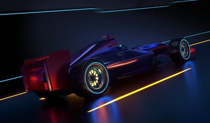 Race Car speeding along a futuristic tunnel