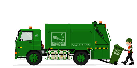 Isolated biodegradable garbage truck and the keeper on transparent background