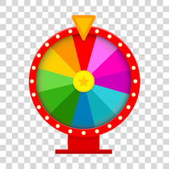 Colorful fortune wheel in flat style on transparent background. Vector illustration. EPS 10.