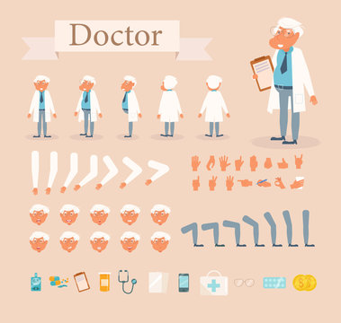 Doctor for animation. Poses front, rear, side, three quarter. Creation set. Collection of emotions. Vector. Cartoon. Isolated art on white background. Flat Different positions of hand