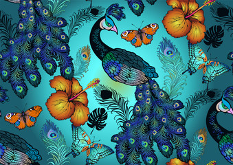 Pattern of peacock, nostalgie of art nuvo. Vector illustration. Suitable for fabric, wrapping paper and the like