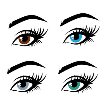 Illustration of woman's eyes with a multi-colored iris, brown, blue, gray, green. Contact lenses, vision. Idea for business visit card, typography vector. Perfect salon look.