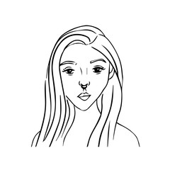 vector lineart avatar of beautiful girl with long hair and piercing