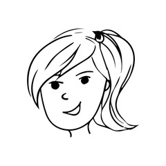 vector cartoon avatar of happy girl with long hair