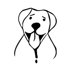 vector illustration of happy dog in lineart style