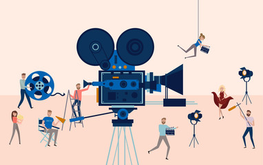 Making movie, video production poster template with small people in the process of shooting a movie. Editable vector illustration