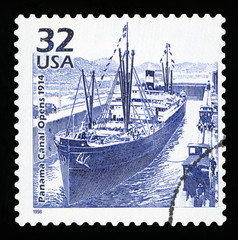 UNITED STATES OF AMERICA - CIRCA 1998: a postage stamp printed in USA commemorative of the Panama canal opening, circa 1998.