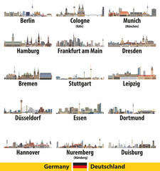 Fototapete - Germany largest cities skylines isolated icons  vector illustration