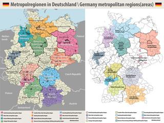 Fototapete - Germany metropolitan regions vector map