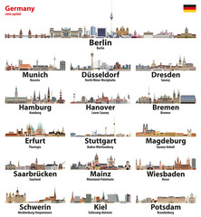 Fototapete - Germany state capitals cities skylines. Vector detailed illustration