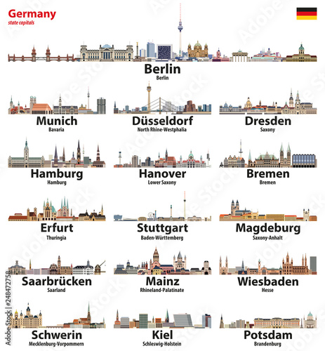 Fototapete Germany state capitals cities skylines. Vector detailed illustration