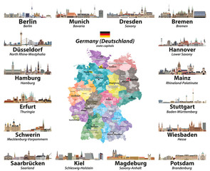 Fototapete - Vector set of Germany map with state capitals cities skylines. All layers are labelled and well organized