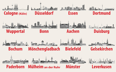 Wall Mural - vector illustration of Germany state North Rhine-Westphalia largest cities skylines icons in black and white color palette
