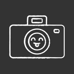 Smiling photo camera chalk icon