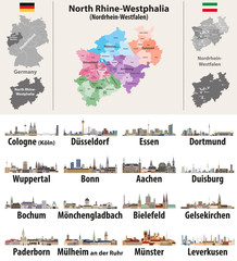 Fototapete - vector illustration of Germany state's North Rhine-Westphlia map with largest cities skylines