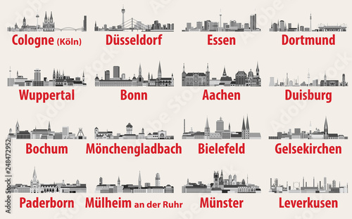 Wall mural vector illustration of Germany state North Rhine-Westphalia largest cities skylines icons in black and white color palette