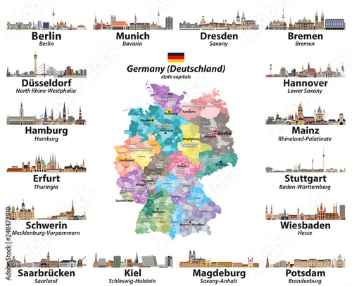 Vector set of Germany map with state capitals cities ...