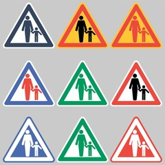 Safety sign-woman and child. Observation of young children, in a certain situation, when it is necessary.