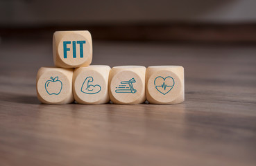 Cubes dice with fitness icons