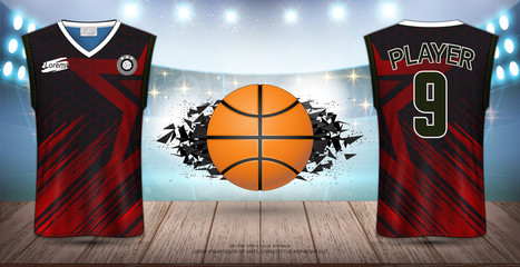 Basketball Uniform & Jersey, Tank Top Sleeveless Shirt, Design for Sport Poster, Banner, Flyer, Brochure or Presentations Template, Vector EPS10 fully editable, Easy Possibility to Apply Your Artwork.