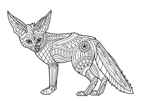 Fox coloring page. Hand drawn vector illustration.