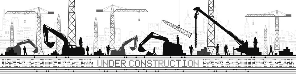 Under Construction illustration. Buildings panorama, industrial landscape, Constructional cranes and excavators, urban scene. People working. Vector lines design art