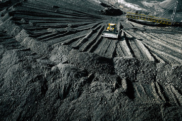 Open pit mine. Aerial view of extractive industry for coal. Top view. Photo captured with drone. Wall mural