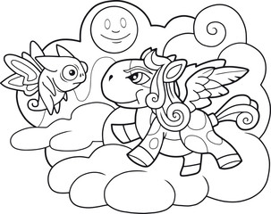 little cute cartoon pony pegasus coloring book funny illustration