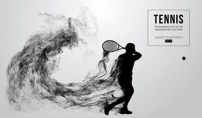 Abstract silhouette of a tennis player man male isolated on white background from particles dust, smoke, steam. Tennis player hits the ball. Background can be changed to any other. Vector illustration