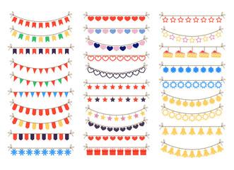 Colorful garlands ornament celebration decoration elements isolated set. Vector flat cartoon character illustration set