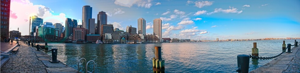 Panorama of downtown Boston from seaport