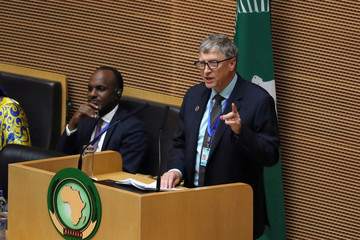 Bill Gates, Microsoft co-founder, addresses the opening of the 32nd Ordinary Session of the Assembly of the Heads of State and the Government of the African Union in Addis Ababa