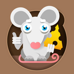 Mouse With Cheese In A Paper-style Foot. Vector Illustration