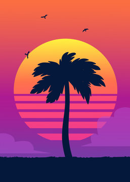 Silhouette of tropical palm tree on the background of a gradient sunset.