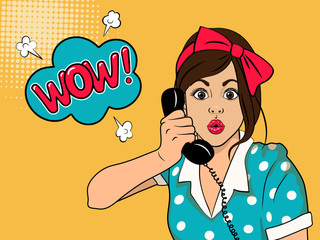 Surprised woman on retro telephone.  Advertising poster of gossip girl with red lips and wow face. Vector illustration in pop art style